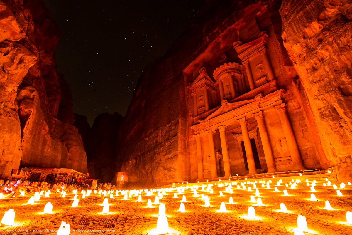 The Treasury light by hundreds of candles during the Petra By Night event.