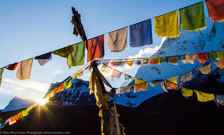 Sunrise On Prayer Flags