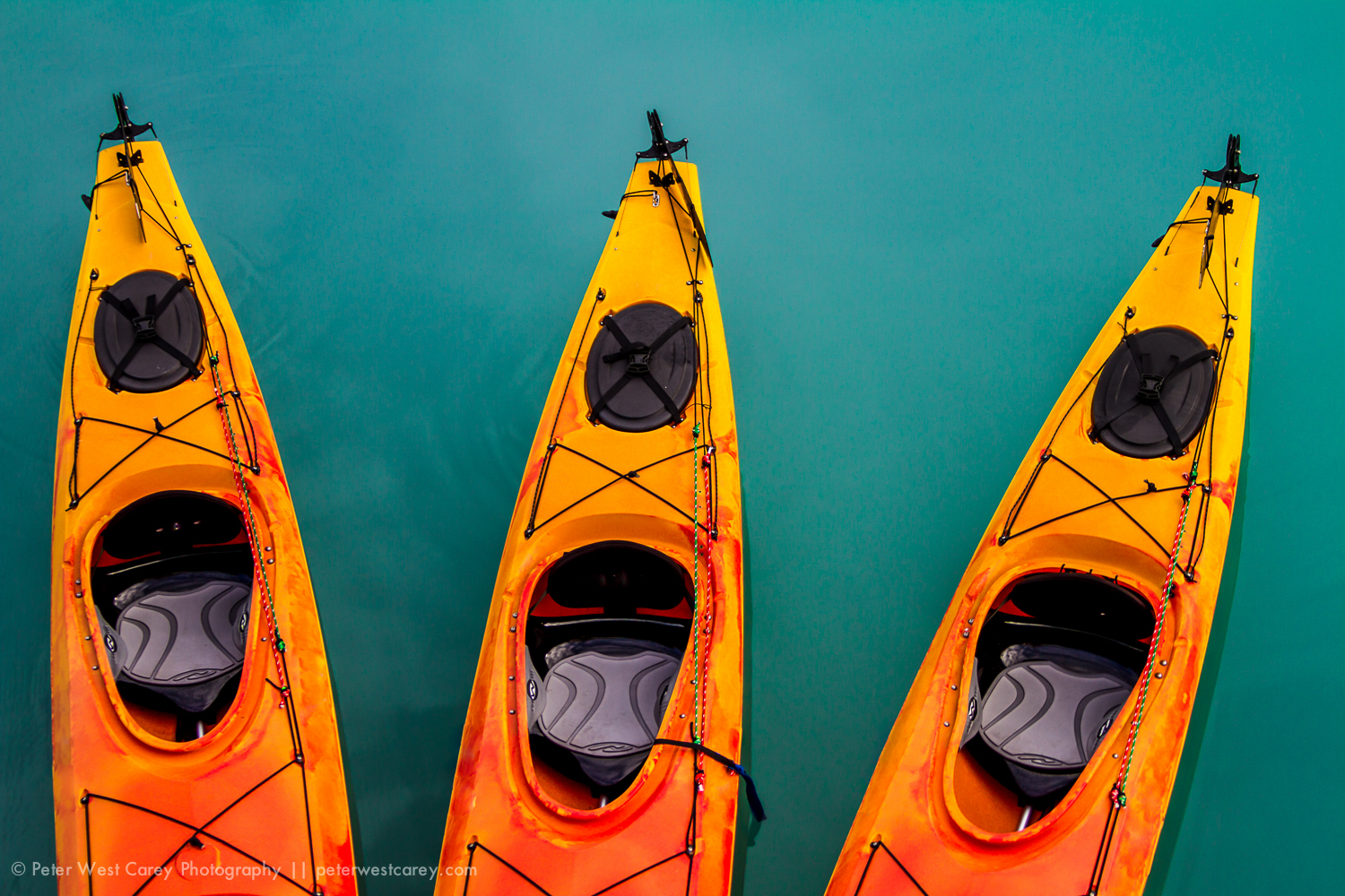 Kayaks Waiting In Glacial Aquamarine Waters, Glacier Bay Nationa