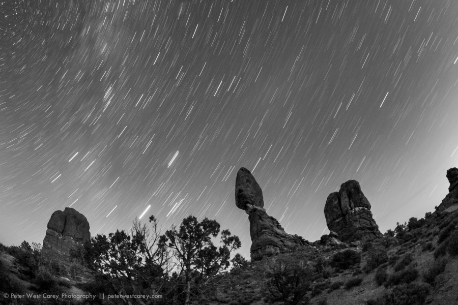 Polaris Over Balanced Rock, Arches National Park, Utah, USA