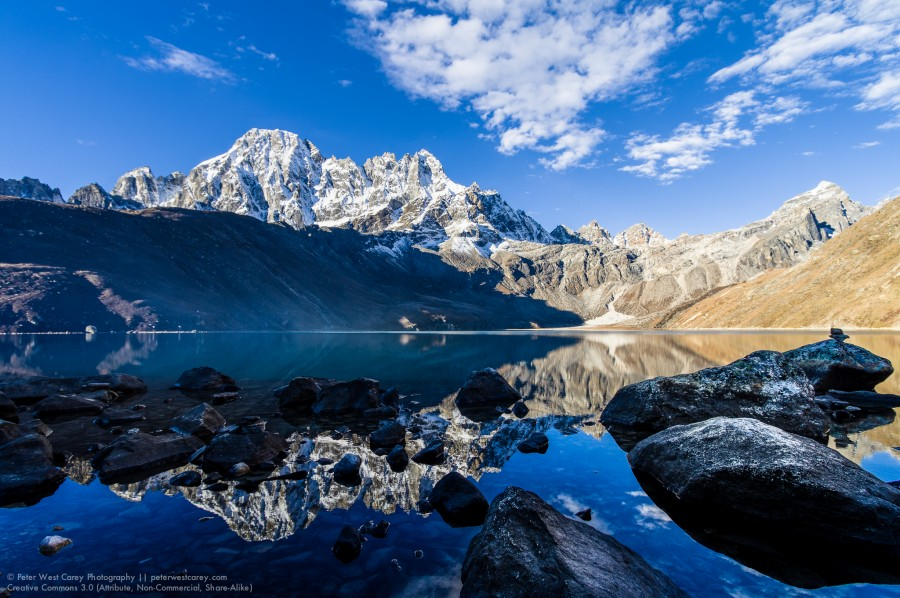 The Machermo Range Reflected In Dudh Pokhari, Gokyo, Solukhumbu,