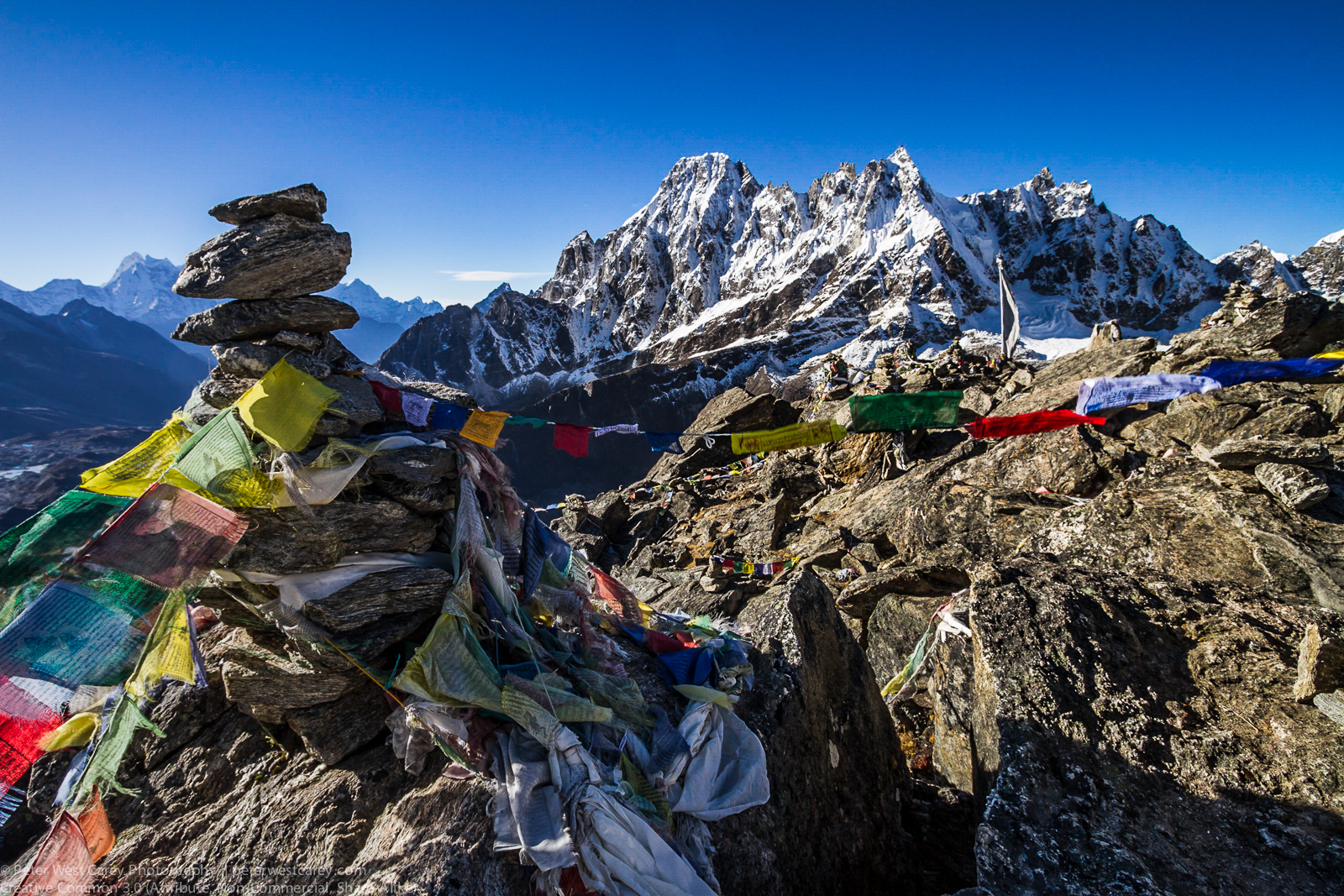 Prayer Flags And The Machermo Range From Gokyo Ri, Sagarmatha Na