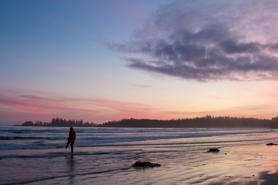 Sunset on Long Beach near Tofino. Vancouver Island. After nearly two weeks of being dwarfed by massive mountains and forests of Alberta and BC, the sun setting over the Pacific Ocean seems otherworldly.