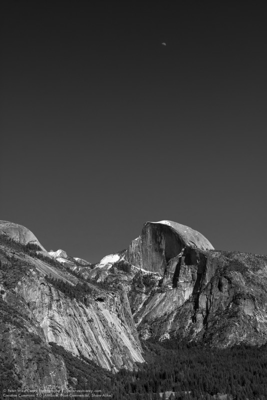 Half Moon Over Half Dome, Yosemite National Park, California, US